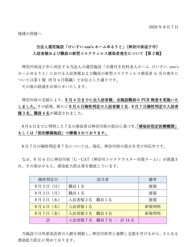 【法人HP2報】新型コロナウィルス感染者発生について20200807_page-0001