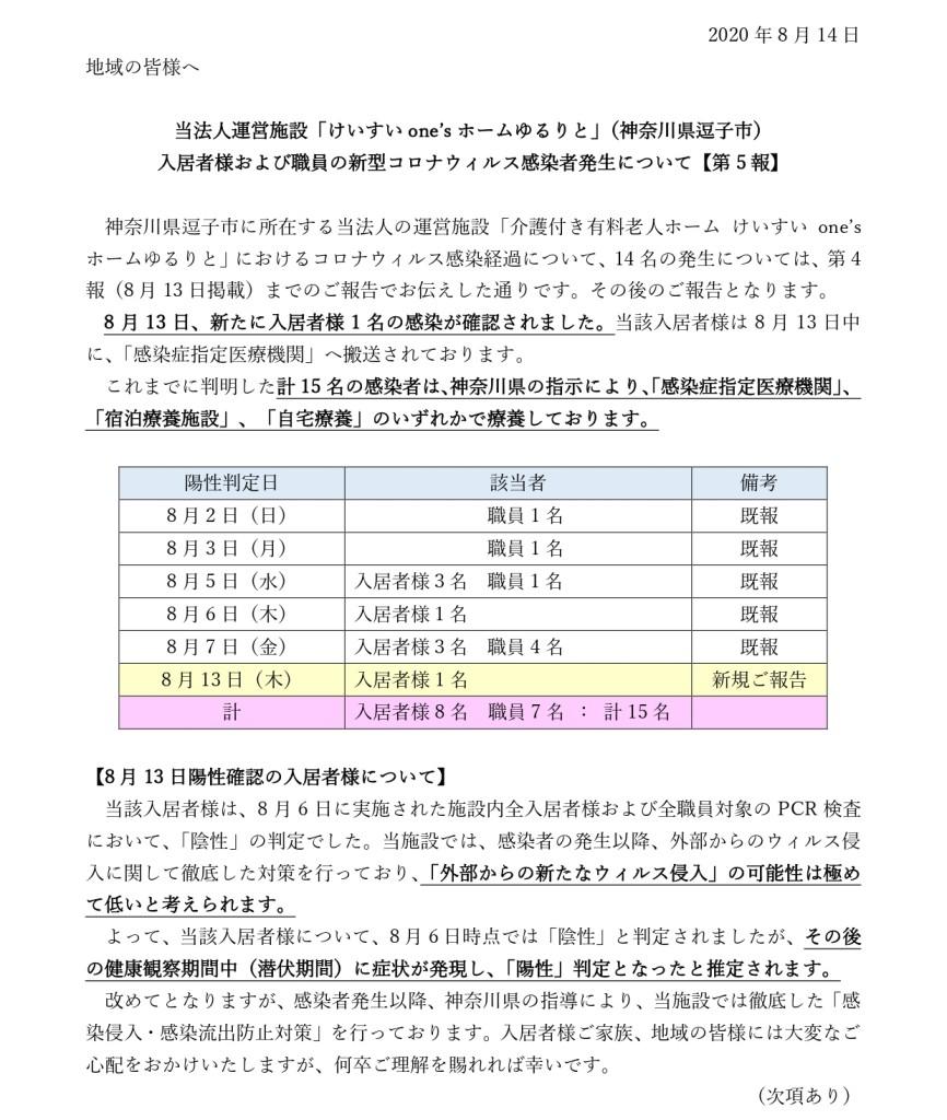 【法人HP5報】新型コロナウィルス感染者発生について20200814_page-0001